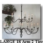 Click Here For LARGE 60 inch Dia. 18 Arm 2 Tier Wrought Iron Chandelier Page